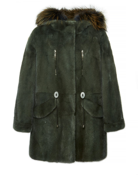 Sophia Full Mink Fur Parka With Fox Fur Trim Hooded Coat