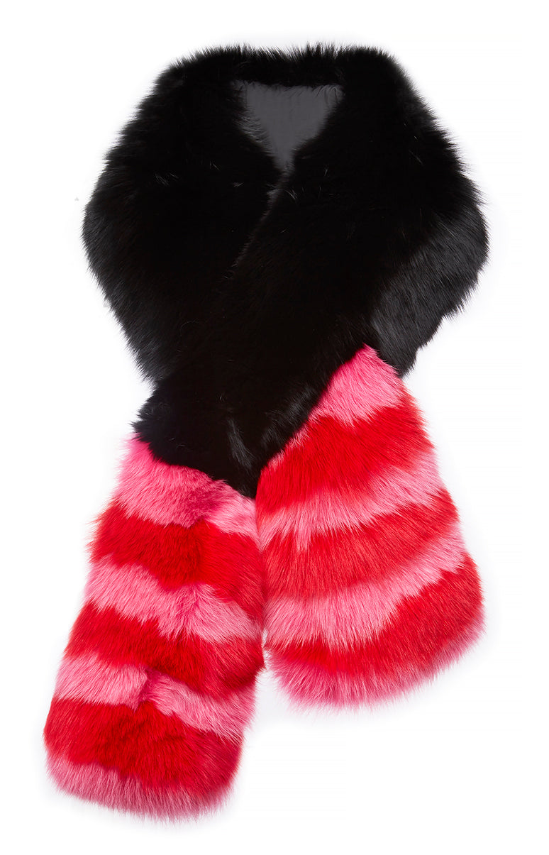 Arabella Striped Fox Fur Scarf Fuxia