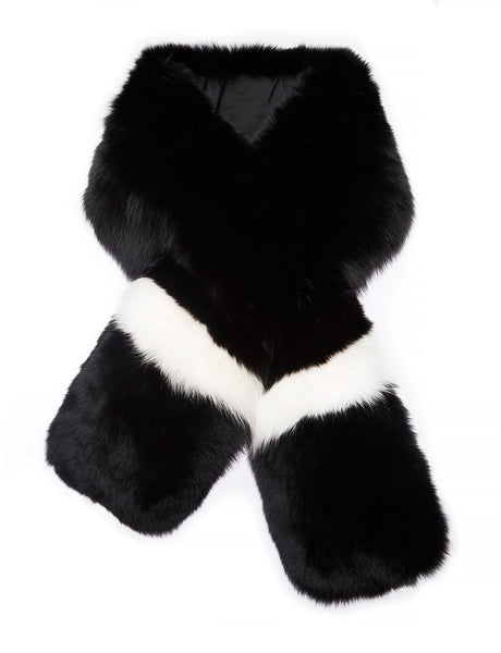 Arabella Striped Fox Fur Scarf Nero