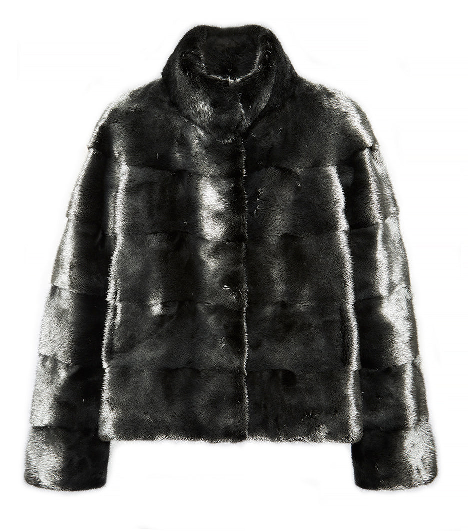 Rosie Silvered Mink Fur Jacket With Collar