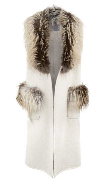 Cara Cashmere and Fox Fur Gilet