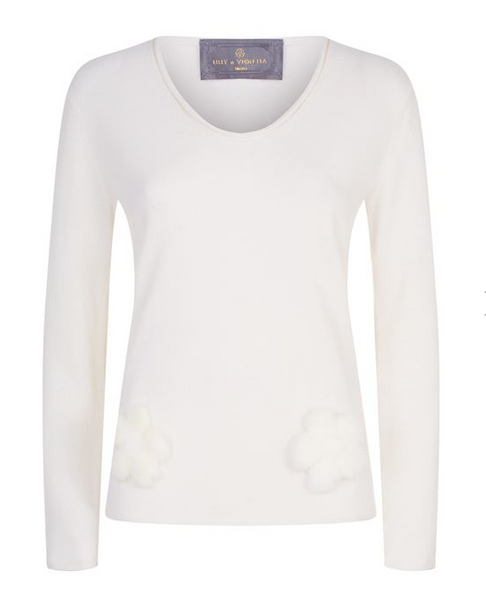 V Collo Cashmere Jumper with Mink Flowers