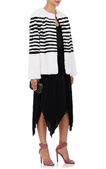 Marilena Striped Mink Fur Jacket
