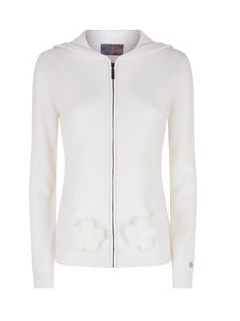 Helena Cashmere Tracksuit Hoodie with Mink Flowers