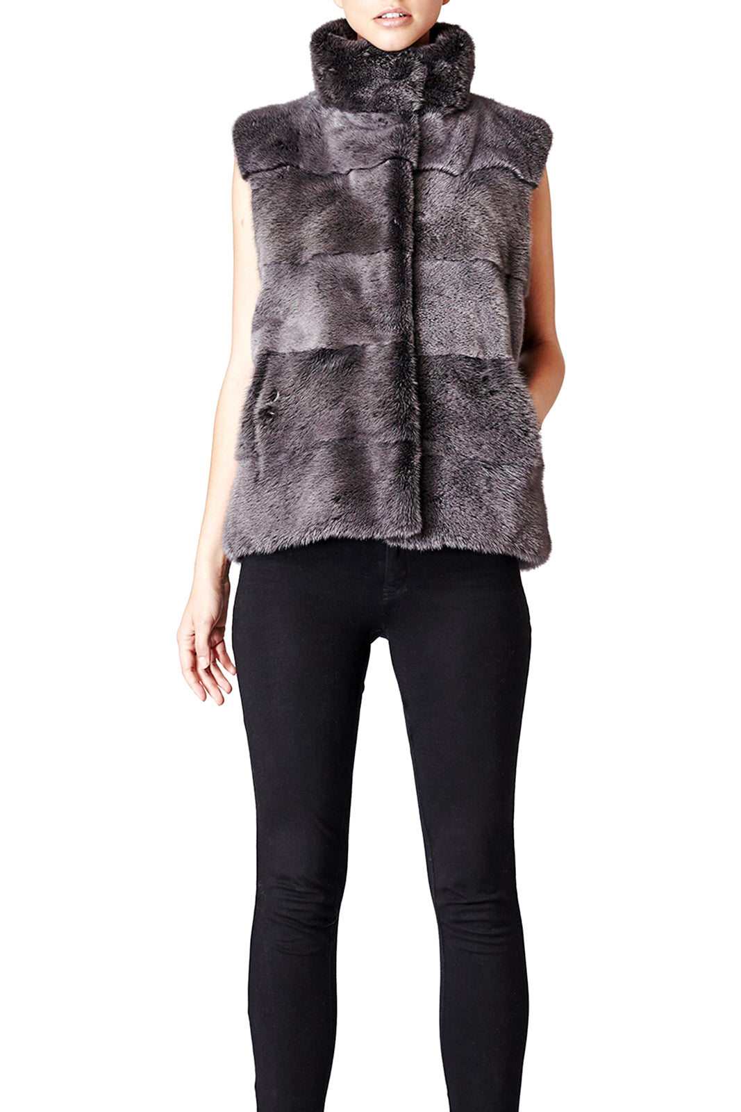 alice womens mink vest 60cm Anthracite 2