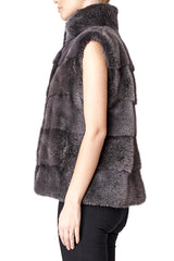 alice womens mink vest 60cm Anthracite 3