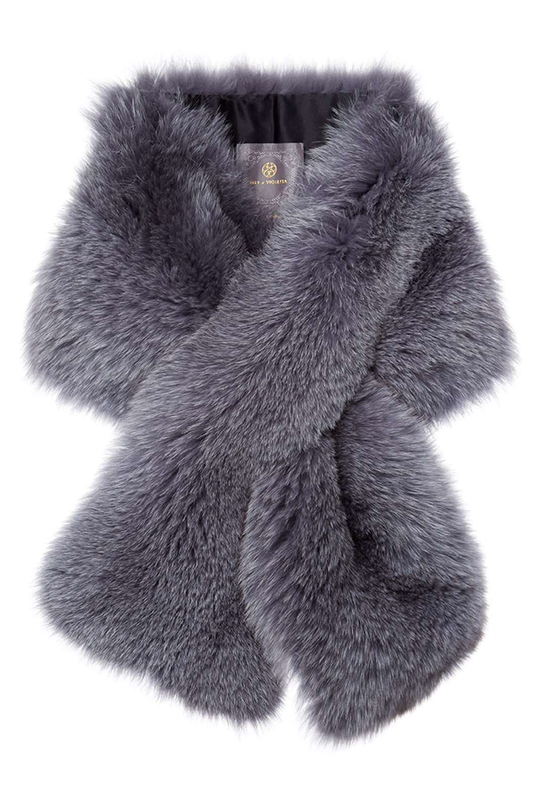 arabella womens fox fur scarf  Pearl Grey Fox