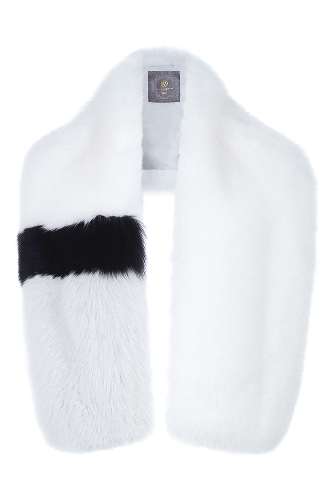 arabella womens striped fox fur scarf White & Black Striped Fox