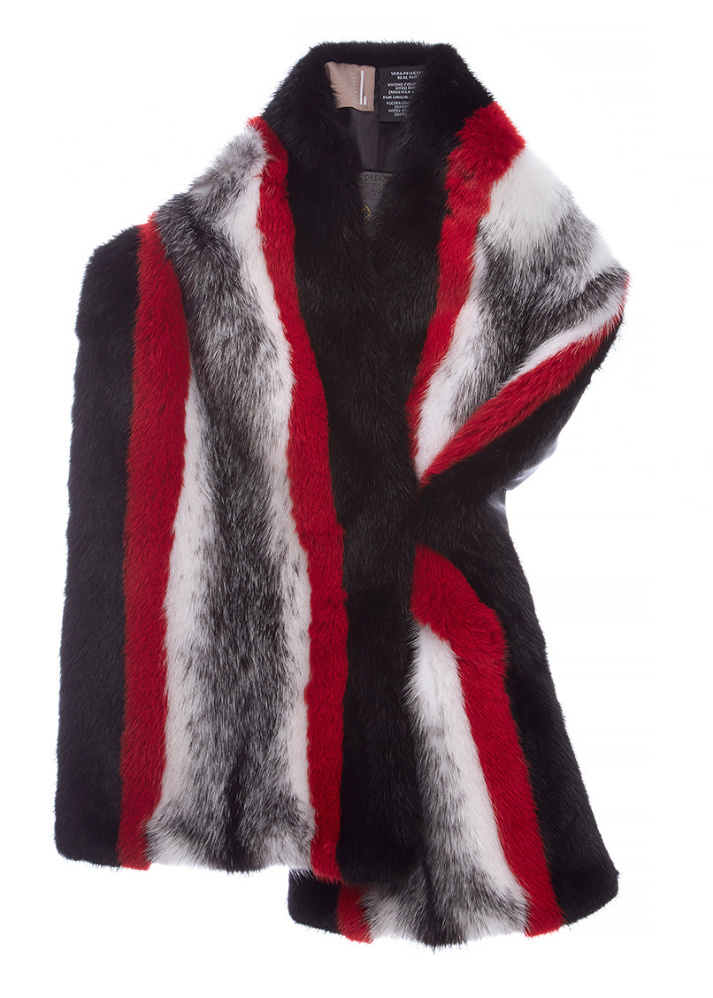Mink Fur Scarf Red