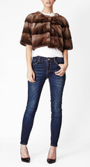 Sarah Mini Mink Fur Jacket Bosco