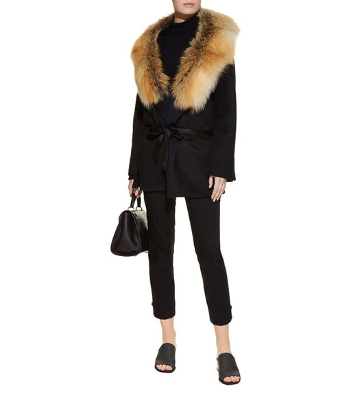 Cassandra Short Cashmere Coat with Fox Fur Trim