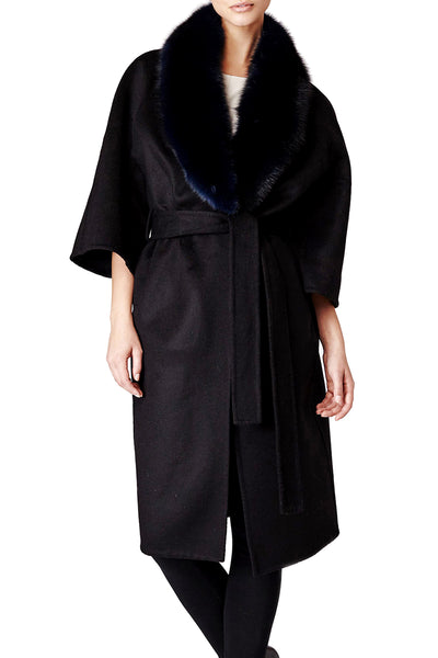 cassandra womens cashmere with fox coat 100cm no cuffs Black Cashmere with Black Fox 5