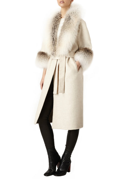 cassandra womens cashmere with fox coat with cuffs Beige Cashmere with Beige Fox 6