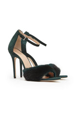 fiona suede mink high heels Green Suede with Green Mink