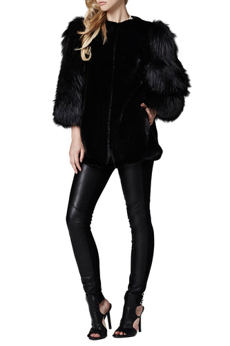 gaga womens mink fox fur jacket Nero Fox 5