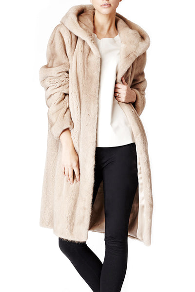katie hoody womens mink hooded coat Sabbia 5