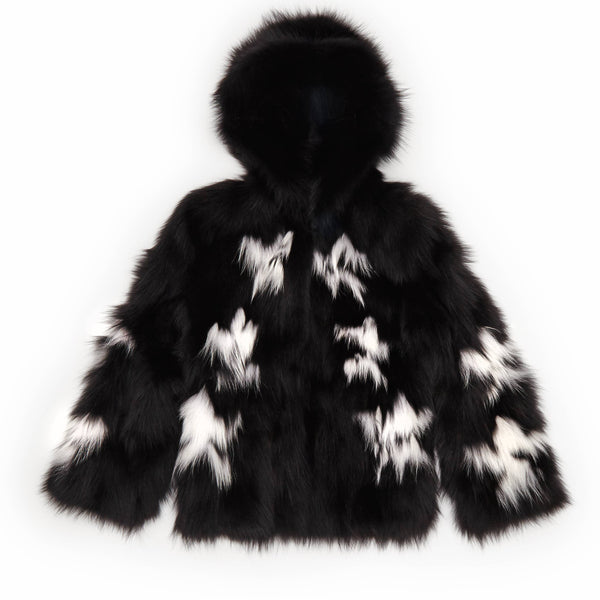 kim womens fox fur short jacket with hood Nero & Bianco Fox 5