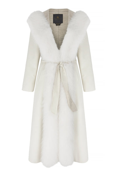 Lara jacket in cashmere with white fox collar hood bianco 1