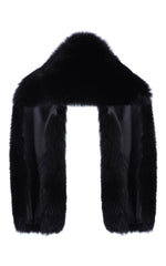 Arabella Blue Fox Fur Scarf Nero