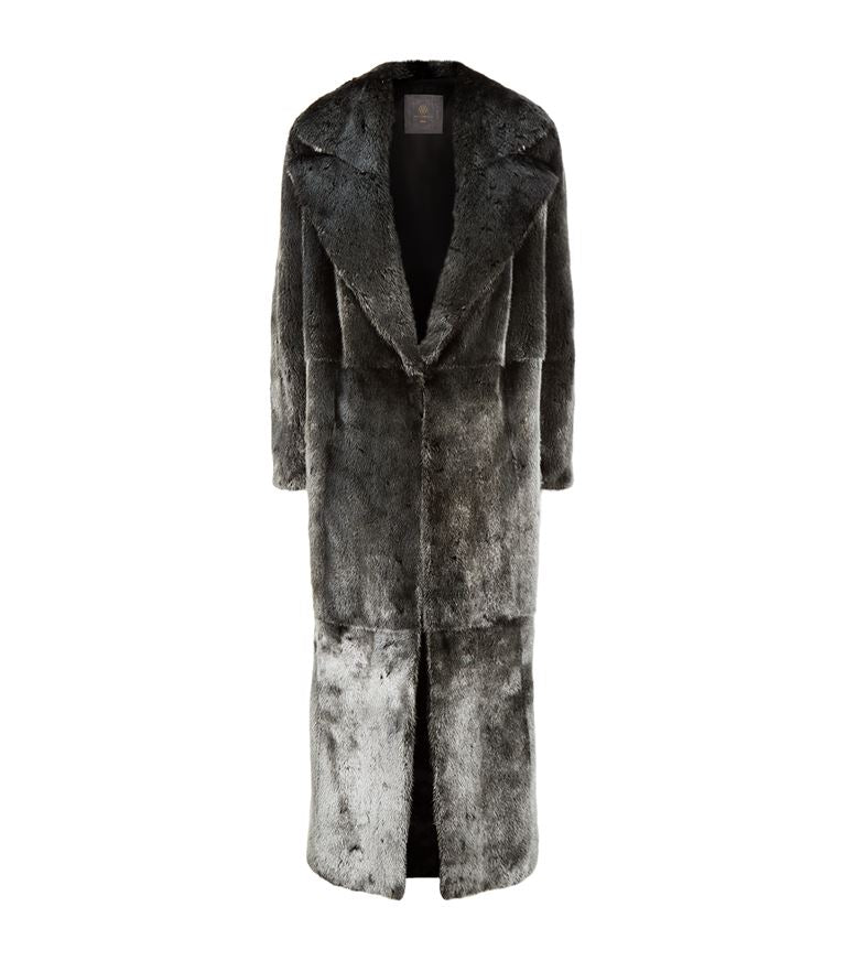 Long Silvered Mink Fur Coat
