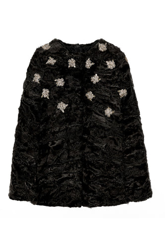 maria womens astrakhan cape Black with Flowers Astrakhan 5