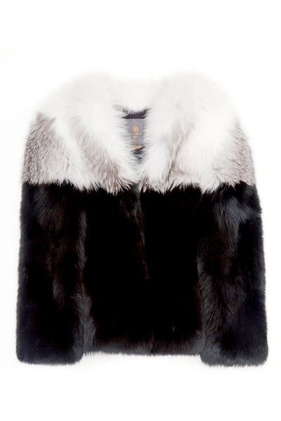 maria womens long fox fur jacket Bianco & Nero Fox 5