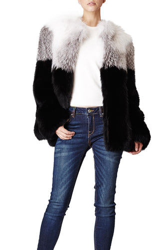 maria womens long fox fur jacket White & Black Striped Fox 6
