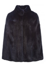 maria womens mink cape with collar Blu 5