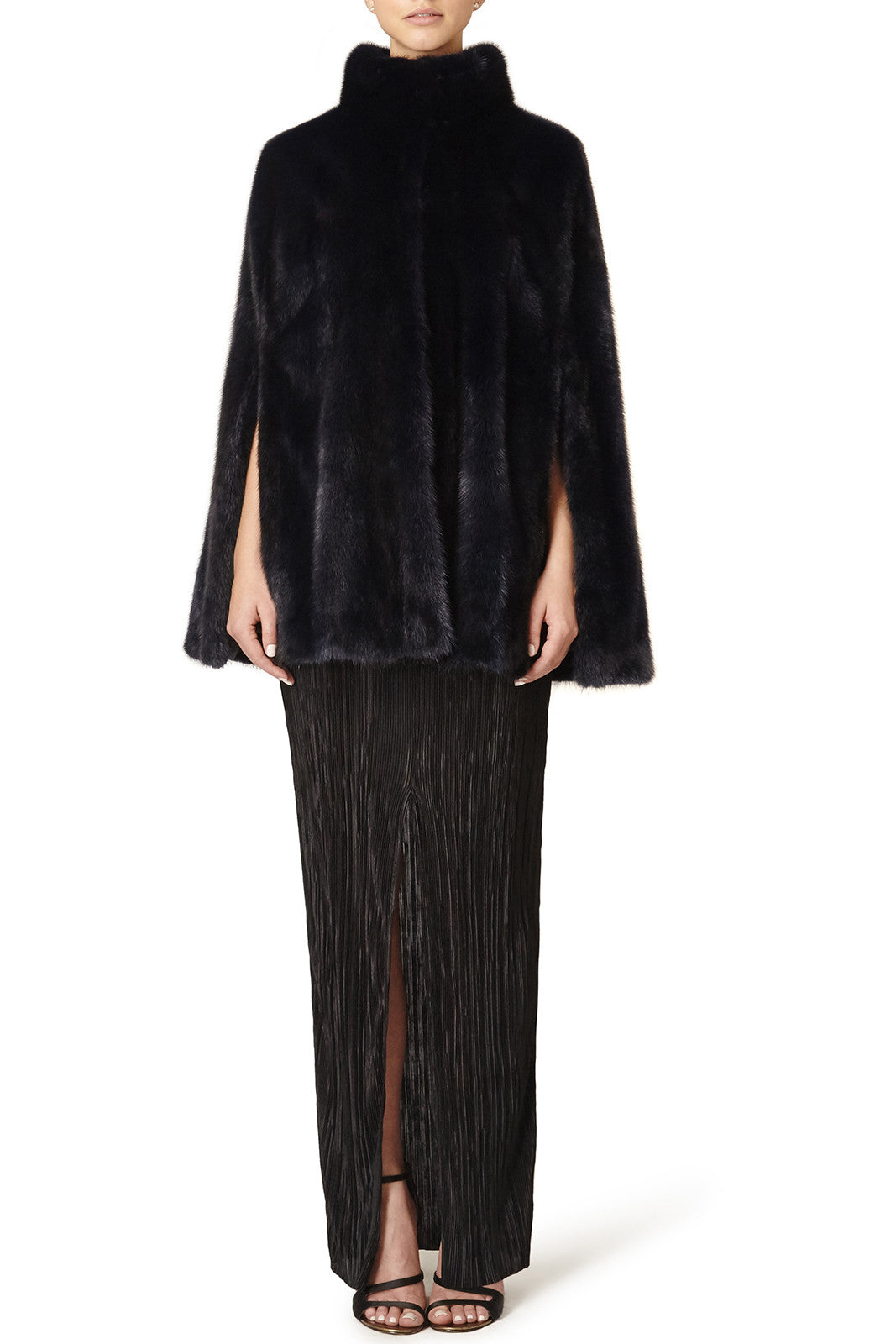 maria womens mink cape with collar Blu 2