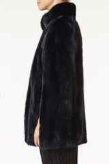maria womens mink cape with collar Blu 3