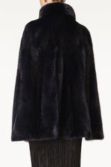 maria womens mink cape with collar Blu 4