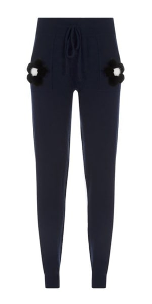 Sabrina Cashmere Tracksuit Trousers with Mink Fur Flowers