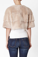 Sarah Mini Mink Fur Jacket Sabbia