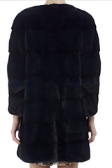sarah womens long 80cm mink coat Nero 4