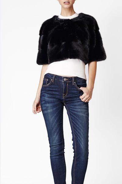 Sarah Mini Mink Fur Jacket Blu