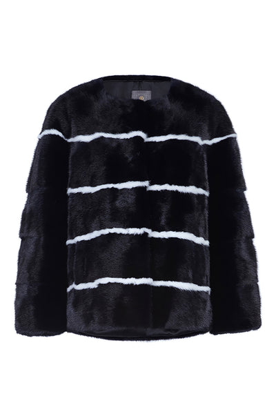 sarah womens striped mink jacket Nero & Bianco Stripes 5