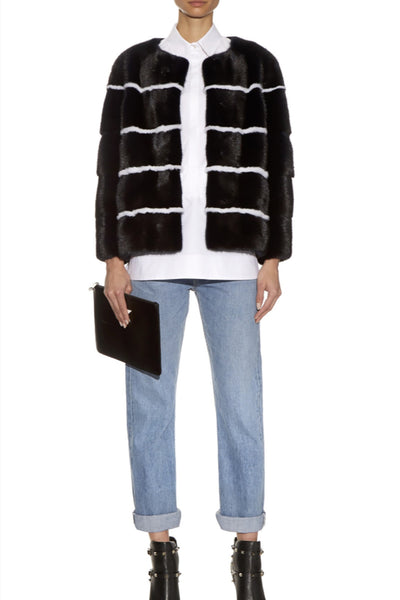 Sarah Women's Striped Mink Jacket