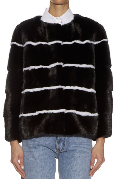 Sarah Striped Mink Fur Jacket