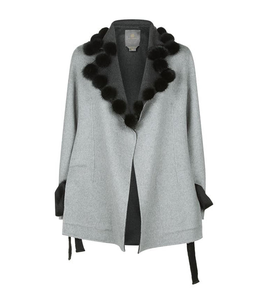 Tie Side Cashmere Coat with Fur Detail