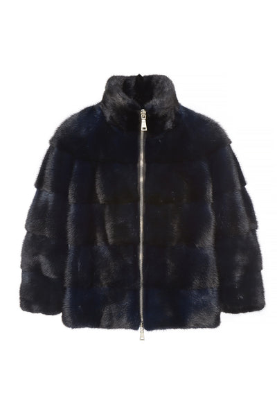 zoe womens mink jacket Blu 5