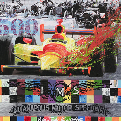 Walter Knabe Artwork Indy 500 Centennial Unique Mixed Media with Hand Painting (Archival Paper)