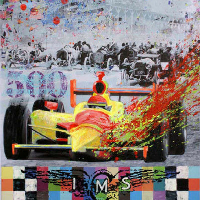 Walter Knabe Artwork Indy 500 Unique Mixed Media with Hand Painting