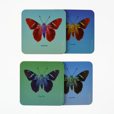 Walter Knabe Coaster Set Butterfly Variety Pack Faith Hope Love Peace