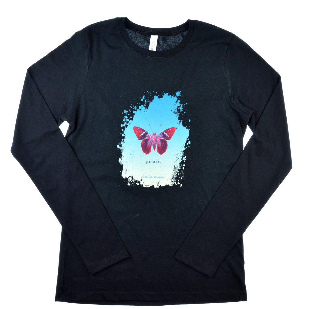 Walter Knabe Women's Long Sleeve Black T Shirt Butterfly Peace