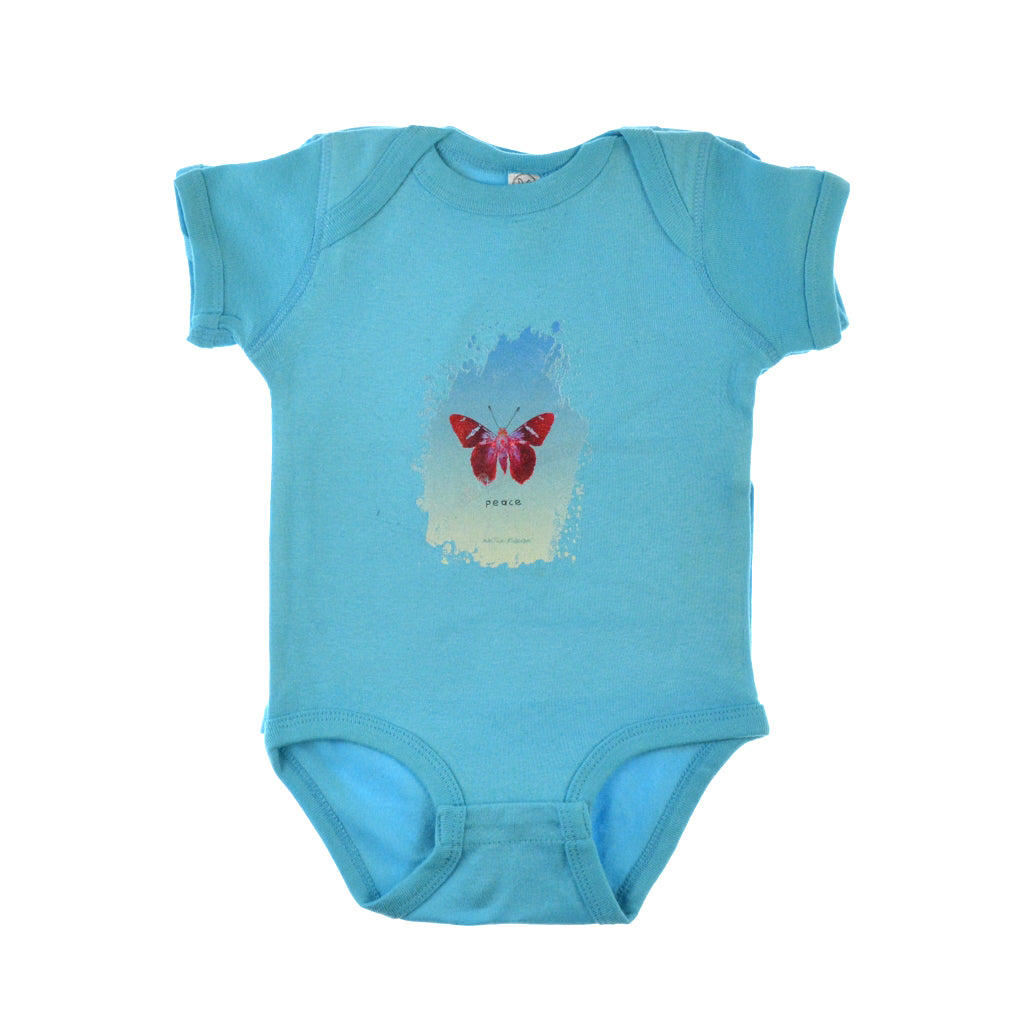 Walter Knabe Infant Onesie Butterfly Peace Turquoise