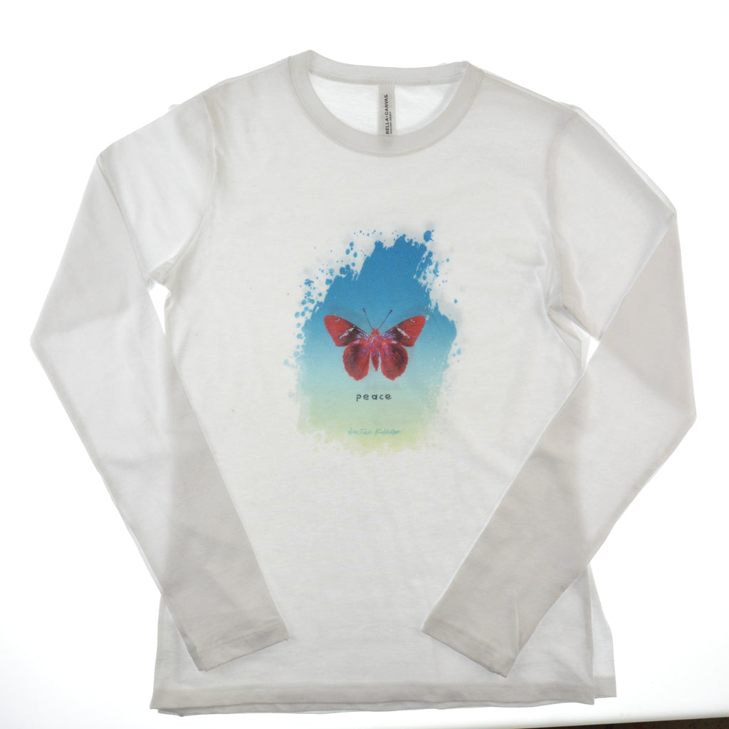 Walter Knabe Women's Long Sleeve White T Shirt Butterfly Peace