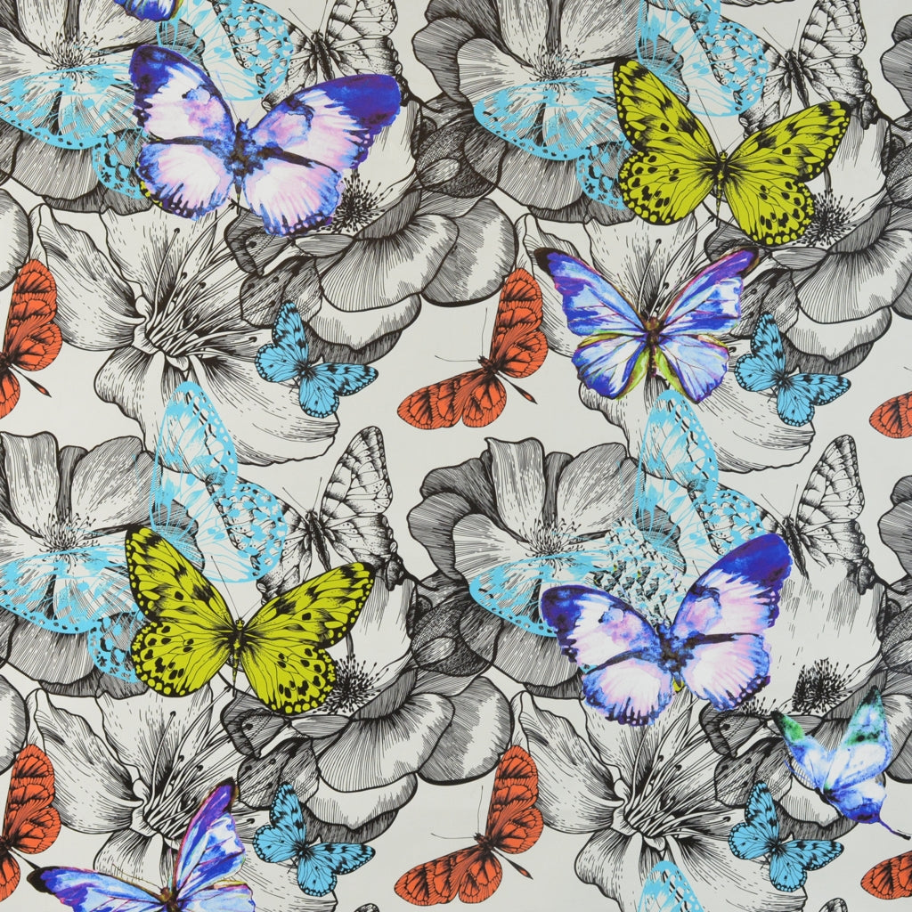 Walter Knabe Butterfly Garden Machine Printed Fabric