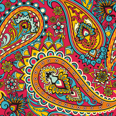 Walter Knabe Dancing Paisley Machine Printed Fabric