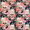 Walter Knabe Skull Floral Machine Printed Fabric