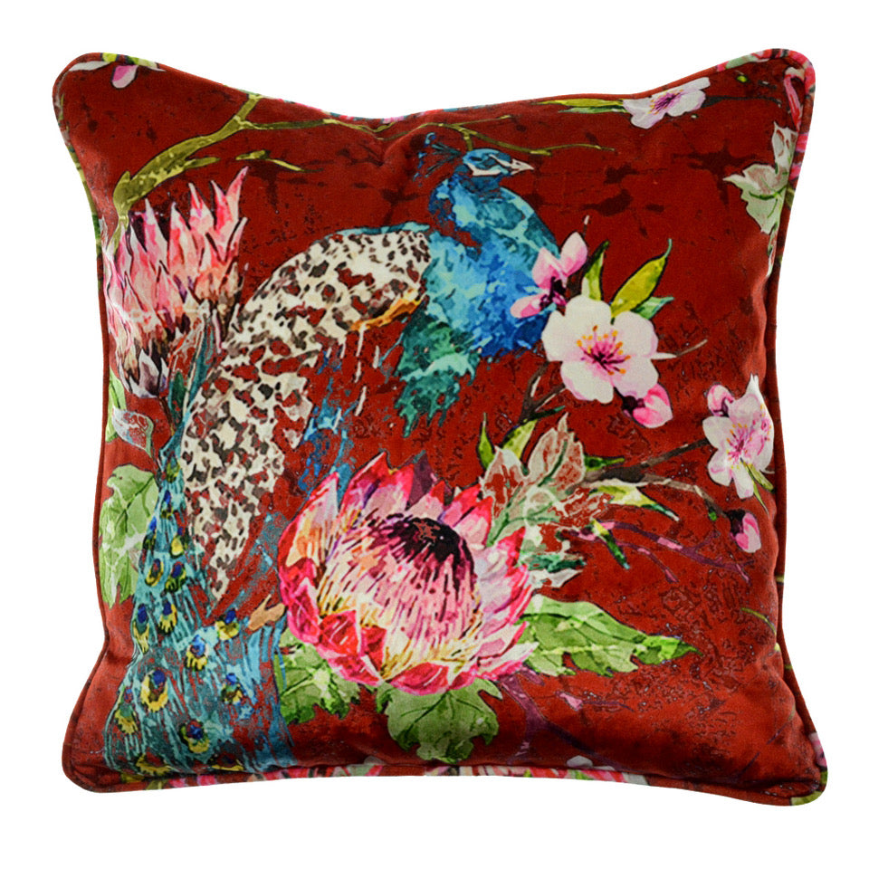 "Walter Knabe Pillow 20"" Velvet Elegant Peacock Red"